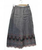 tricot COMME des GARCONS(トリココムデギャルソン)の古着「レース切替フラワー装飾ワイドパンツ」|ブラック