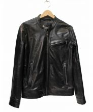 BARNEYS NEWYORK(バーニーズニューヨーク)の古着「シングルライダースジャケット」|ブラック