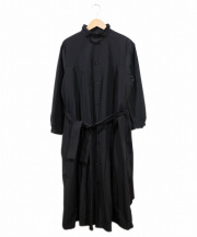 tricot COMME des GARCONS(トリココムデギャルソン)の古着「ギャザープリーツベルトワンピース」|ブラック
