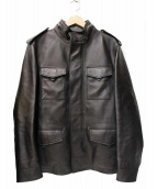 COACH(コーチ)の古着「ミリタリーレザージャケット」 ブラック