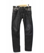 DIESEL BLACK GOLD(ディーゼルブラックゴールド)の古着「スタッズ装飾ブラックデニム」 ブラック