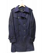 BURBERRY BLACK LABEL(バーバリーブラックレーベル)の古着「ライナー付メルトン切替トレンチコート」|ネイビー