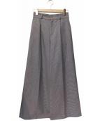 BLUE LABEL CRESTBRIDGE(ブルーレーベルクレストブリッジ)の古着「ベルト付きタックワイドパンツ」|ホワイト×ブラック