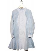 STELLA McCARTNEY(ステラ・マッカートニ)の古着「バンドカラーシャツワンピース」|スカイブルー
