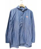 DANTON(ダントン)の古着「シャンブレー丸襟POチュニックシャツ」|ブルー