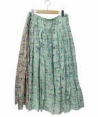 PEANUTS×AS KNOW AS olaca(ピーナッツ×アズノウアズ オオラカ)の古着「トリプルコラボリバティプリントスカート」|グリーン×ピンク