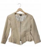 PAOLA FRANI(パオラフラーニ)の古着「ショートフリルレザージャケット」|ベージュ