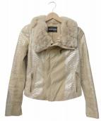 EMPORIO ARMANI(エンポリオアルマーニ)の古着「ファー付スエードジャケット」|ベージュ