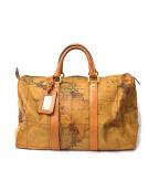 PRIMA CLASSE(プリマクラッセ)の古着「マップ柄レザーボストンバッグ」 ブラウン