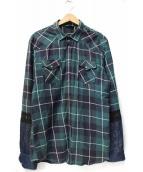DIESEL(ディーゼル)の古着「デニム切替デザインネルシャツ」|グリーン