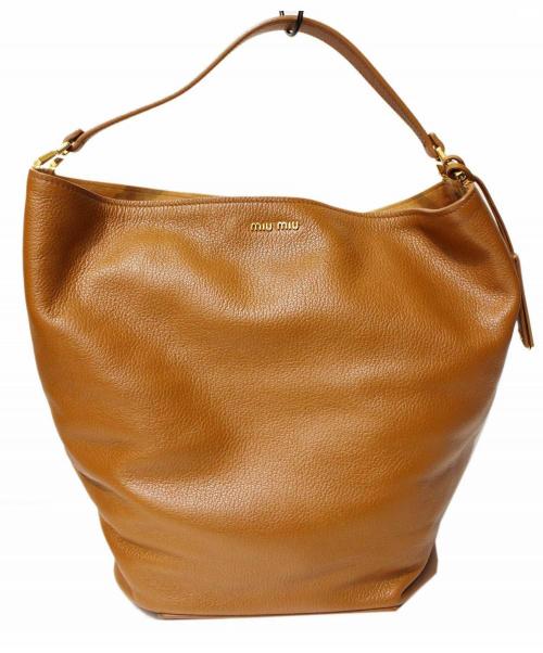 MIU MIU(ミュウミュウ)MIU MIU (ミュウミュウ) マドラスレザーホーボーバッグ ブラウンの古着・服飾アイテム