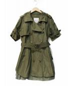 MONCLER(モンクレール)の古着「半袖スプリングトレンチコート」|オリーブ