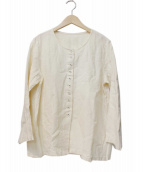 nest Robe(ネストローブ)の古着「ノーカラーリネンブラウス」|ホワイト