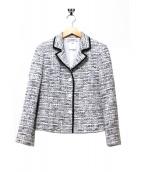 GIVENCHY BOUTIQUES(ジバンシー ブティックス)の古着「パイピングツイードスカートスーツ」|ホワイト×ブラック