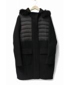 DOUBLE STANDARD CLOTHING(ダブルスタンダードクロージング)の古着「メルトンダウン切り替えコート」|ブラック