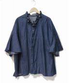 haddow(ハドウ)の古着「フリルネックシャンブレータックワイドシャツ」 インディゴ