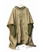 G.V.G.V(ジーヴイジーヴイ)の古着「WOOL GABARDINE PONCHO LAYERED 」 ベージュ