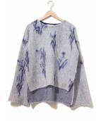 mame kurogouchi(マメ クロゴウチ)の古着「フラワー柄モヘアニット」|ネイビー