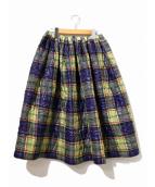tricot COMME des GARCONS(トリコ コムデギャルソン)の古着「プレイドキルティングスカート」|イエロー
