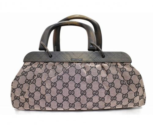 GUCCI(グッチ)GUCCI (グッチ) GGキャンバスウッドハンドバッグ ピンク GG 1126831705の古着・服飾アイテム