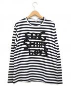 COMME des GARCONS SHIRT BOY(コムデギャルソンシャツ ボーイ)の古着「ロゴボーダーカットソー」 ネイビー×ホワイト