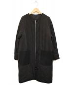 Mila Owen(ミラオーウェン)の古着「キルティングノーカラーコート」|ブラック