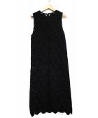 LE CIEL BLEU(ルシェルブルー)の古着「ビッグドットレースIラインドレス」|ブラック