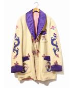 VINTAGE(ヴィンテージ/ビンテージ)の古着「[古着]スカ刺繍ウールガウンコート」|ベージュ