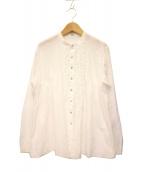 45rpm(45アールピーエム)の古着「フリル装飾デザインバンドカラーシャツ」|ホワイト