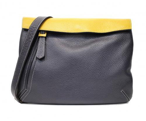 OTTO ROSSI(オットロッシ)OTTO ROSSI (オットロッシ) レザーサコッシュバッグ イエロー×ネイビー 豊岡鞄の古着・服飾アイテム
