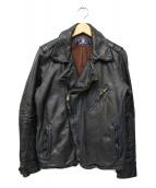AVIREX(アビレックス)の古着「ホースハイドライダースジャケット」|ネイビー