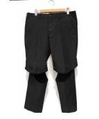 COMME des GARCONS HommePlus(コムデギャルソンオムプリュス)の古着「ポリ縮絨ニーカットデザインスラックス」|ブラック