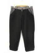 COMME des GARCONS SHIRT(コムデギャルソンシャツ)の古着「ウール切替ヘリンボーンリブパンツ」|グレー
