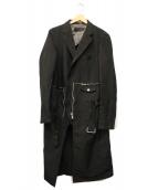 COMME des GARCONS HommePlus(コムデギャルソンオムプリュス)の古着「再構築ポリ縮絨ドッキングコート」|ブラック