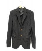 COMME des GARCONS HommePlus(コムデギャルソンオムプリュス)の古着「再構築ポリ縮絨テーラードジャケット」|ブラック
