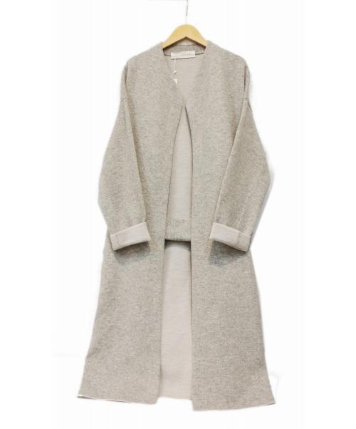 GALERIE VIE(ギャルリーヴィー)GALERIE VIE (ギャルリーヴィー) ウールダブルフェイスノ-カラーニットコート グレー サイズ:36 未使用品の古着・服飾アイテム