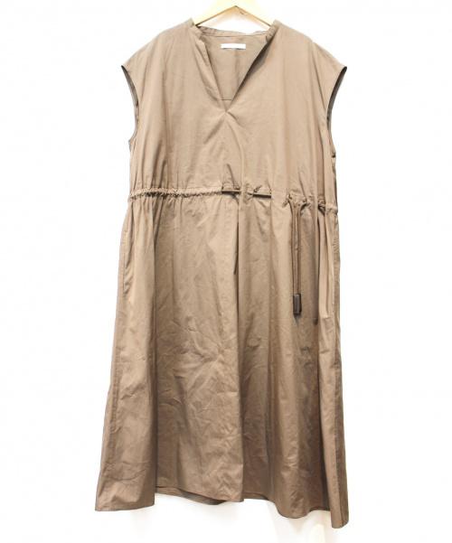 GALERIE VIE(ギャルリーヴィー)GALERIE VIE (ギャルリーヴィー) コットンシルクギャザリングワンピース ブラウン サイズ:36の古着・服飾アイテム