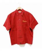 TED COMPANY(テッドカンパニー)の古着「半袖刺繍シャツ」 レッド