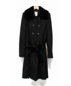 ARMANI COLLEZIONI(アルマーニコレツォーニ)の古着「ラビットファー付コート」|ブラック