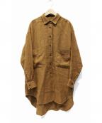 Munich(ミューニック)の古着「ウールリネンビッグシャツ」|ブラウン