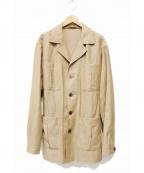 CARUSO(カルーゾ)の古着「ウールリネンサファリジャケット」|ベージュ