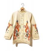 VINTAGE(ヴィンテージ/ビンテージ)の古着「[古着]ヴィンテージ刺繍チャイナジャケット」|アイボリー