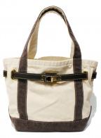 SITA PARANTICA(シータパランティカ)の古着「キャンバストートバッグ」 アイボリー×ブラウン