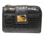 LEATHER JEWELS(レザージュエルズ)の古着「クロコダイルレザーL字ファスナー2つ折り財布」 ブラック