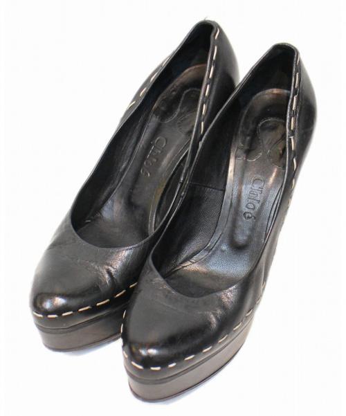 Chloe(クロエ)Chloe (クロエ) スティッチデザインパンプス ブラック サイズ:37の古着・服飾アイテム
