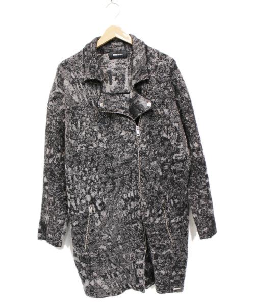 DIESEL(ディーゼル)DIESEL (ディーゼル) ライダースニットコート グレー サイズ:XSの古着・服飾アイテム