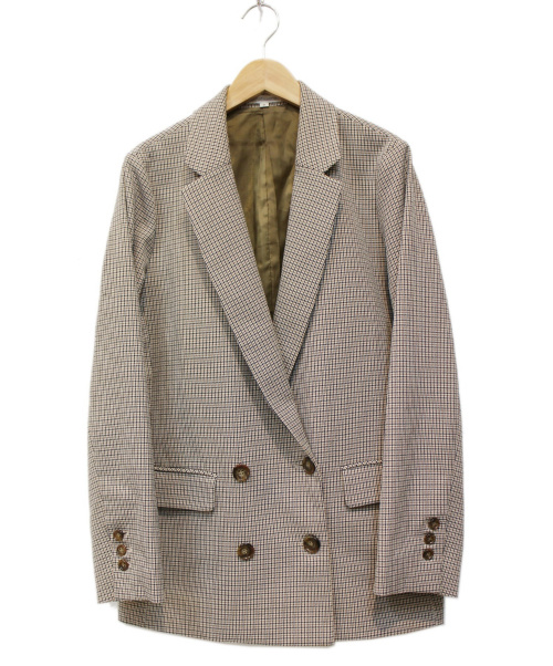 NARA CAMICIE(ナラカミーチェ)NARA CAMICIE (ナラカミーチェ) チェックダブルジャケット ベージュ サイズ:Ⅱの古着・服飾アイテム