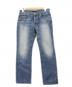 BURBERRY BLACK LABEL()の古着「刺繍チェックポケットデニムパンツ」 ブルー