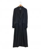 Y'S YOHJI YAMAMOTO(ワイズ ヨウジヤマモト)の古着「[OLD]切りっぱなしギャバジンウールロングコート」 ブラック