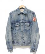 POLO RALPH LAUREN()の古着「星条旗パッチUSED加工デニムジャケット」|ブルー